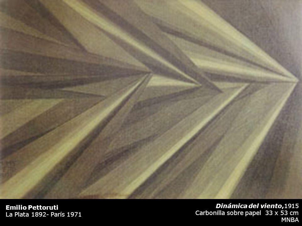 Emilio Pettoruti La Plata 1892- París 1971. Dinámica del viento,1915. Carbonilla sobre papel 33 x 53 cm.