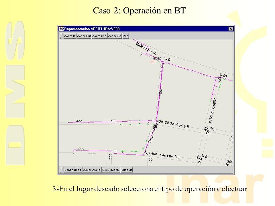 3-En el lugar deseado selecciona el tipo de operación a efectuar