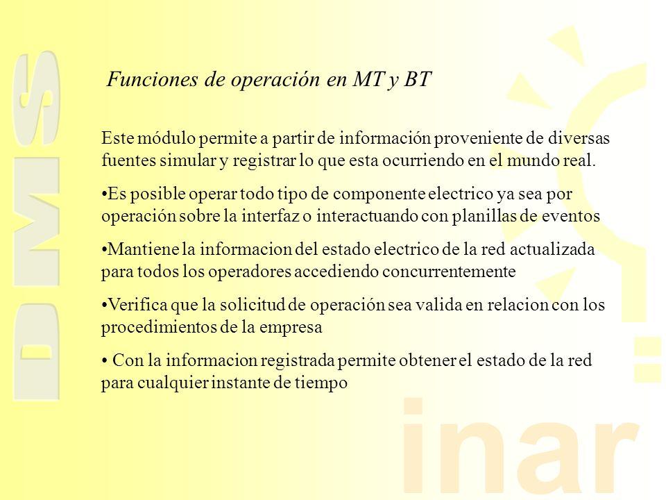 Funciones de operación en MT y BT