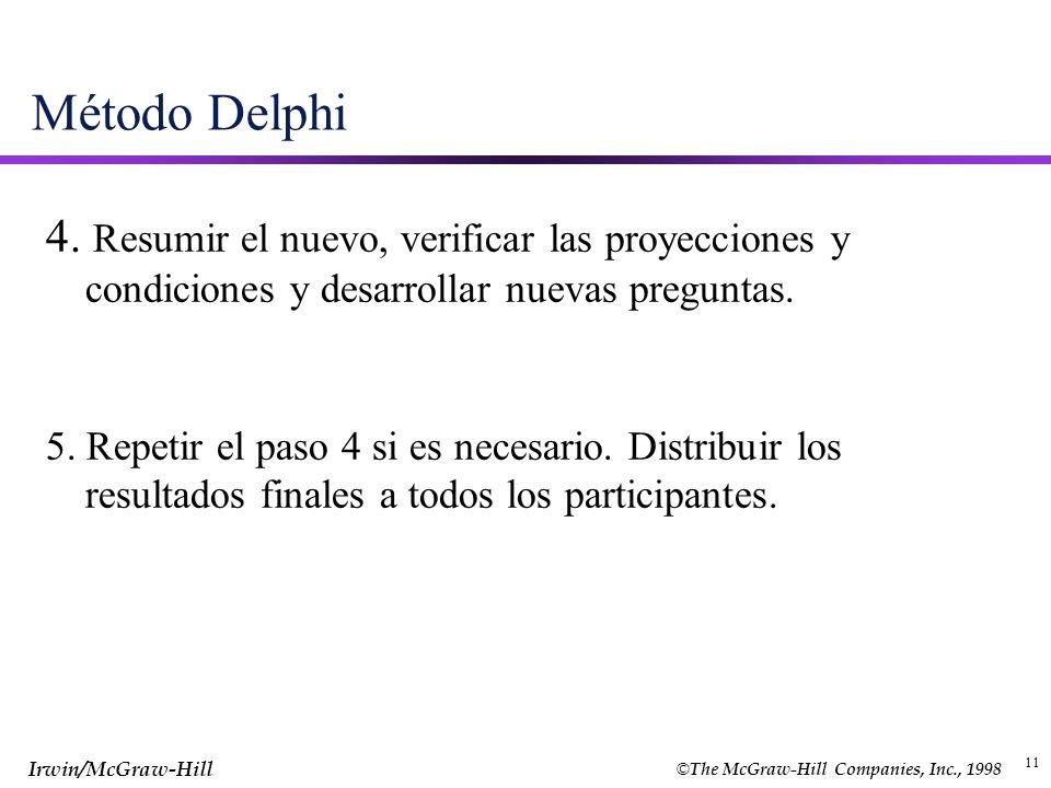 Método Delphi 4. Resumir el nuevo, verificar las proyecciones y condiciones y desarrollar nuevas preguntas.