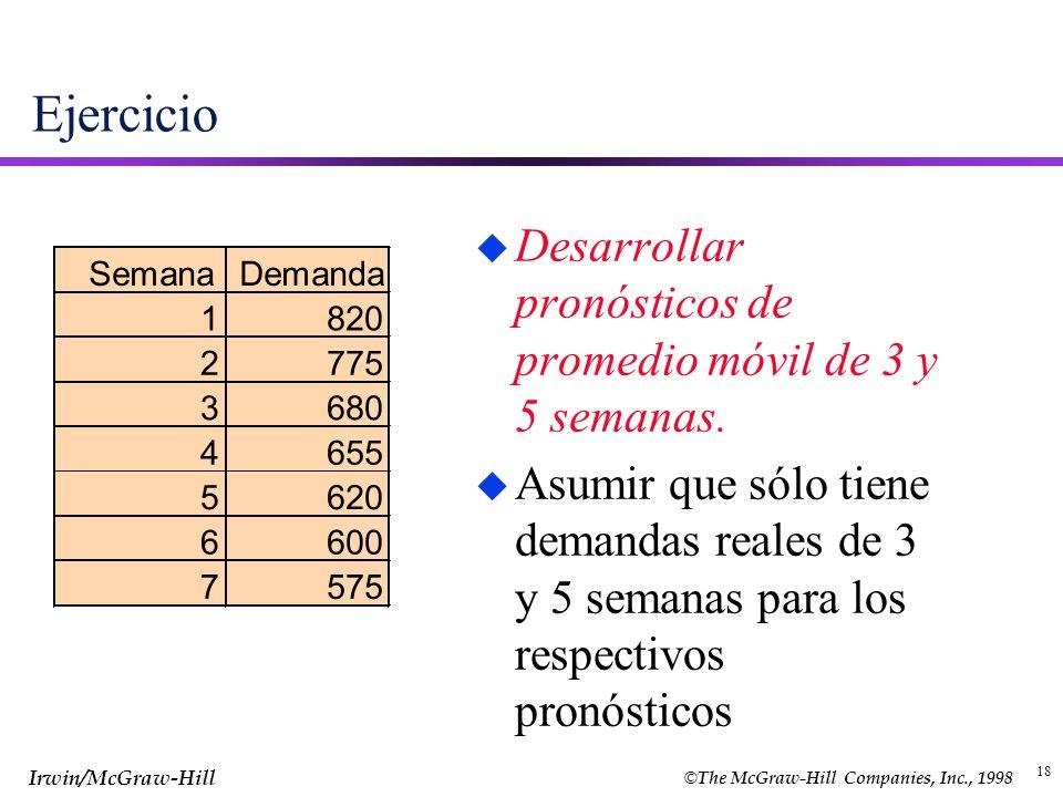 Ejercicio Desarrollar pronósticos de promedio móvil de 3 y 5 semanas.