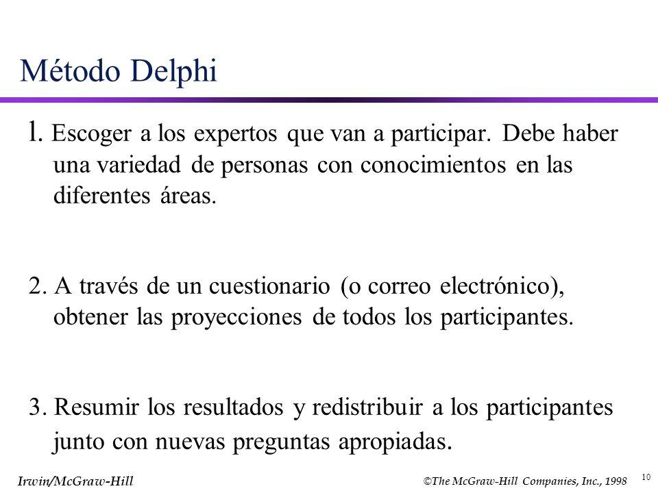 Método Delphi l. Escoger a los expertos que van a participar. Debe haber una variedad de personas con conocimientos en las diferentes áreas.