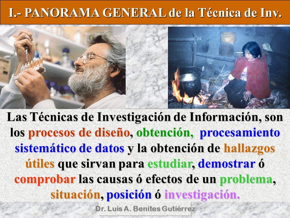 I.- PANORAMA GENERAL de la Técnica de Inv.