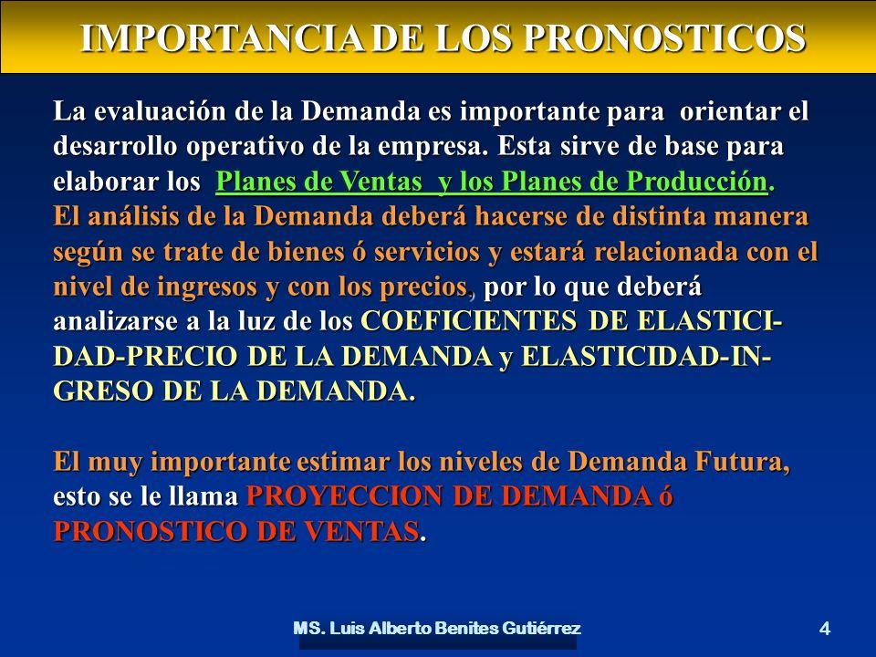 IMPORTANCIA DE LOS PRONOSTICOS MS. Luis Alberto Benites Gutiérrez