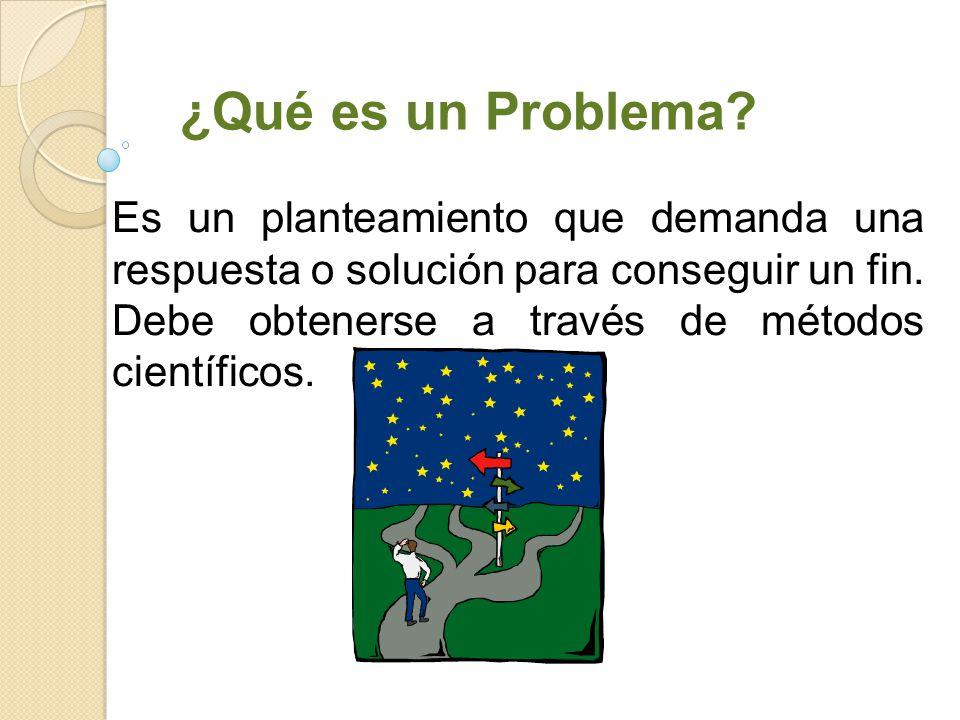¿Qué es un Problema Es un planteamiento que demanda una respuesta o solución para conseguir un fin.
