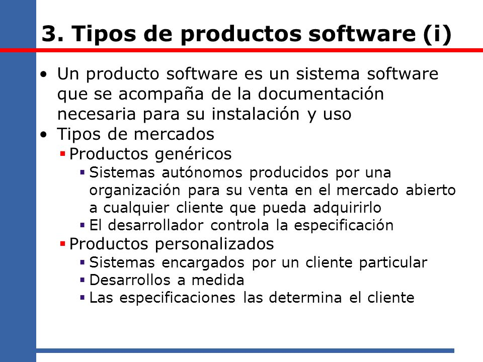 3. Tipos de productos software (i)