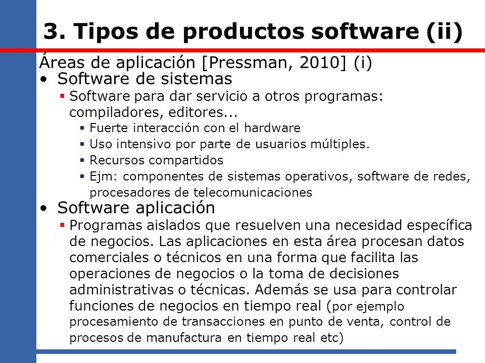 3. Tipos de productos software (ii)