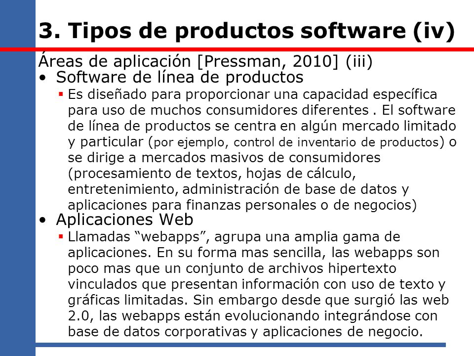 3. Tipos de productos software (iv)