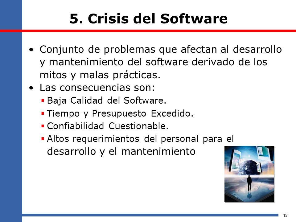 5. Crisis del Software Conjunto de problemas que afectan al desarrollo y mantenimiento del software derivado de los mitos y malas prácticas.
