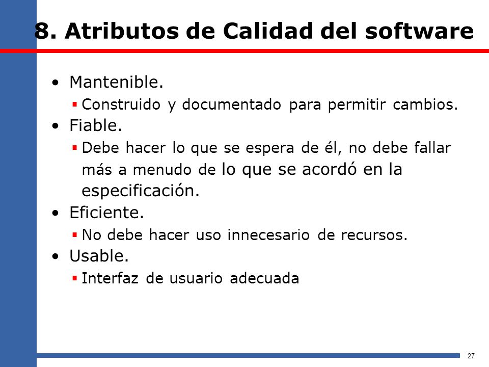 8. Atributos de Calidad del software