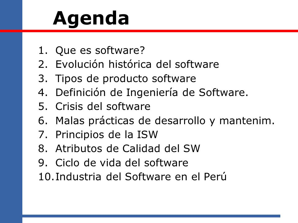 Agenda Que es software Evolución histórica del software