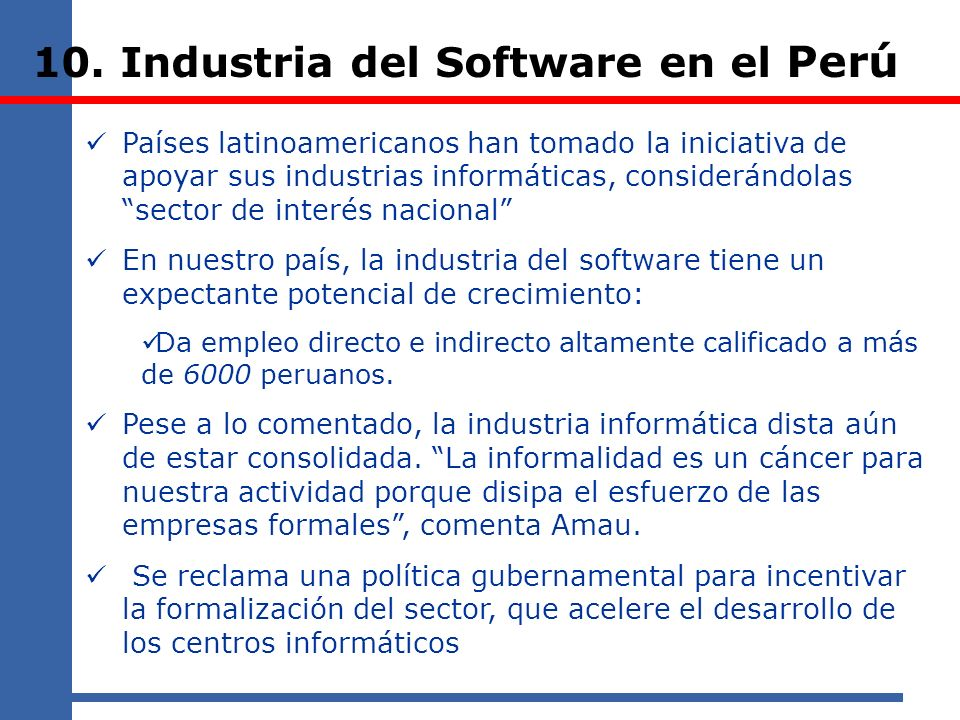 10. Industria del Software en el Perú