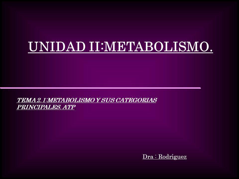 UNIDAD II:METABOLISMO.