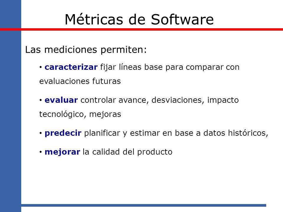 Métricas de Software Las mediciones permiten:
