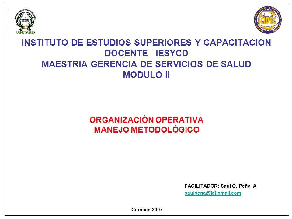 INSTITUTO DE ESTUDIOS SUPERIORES Y CAPACITACION DOCENTE IESYCD MAESTRIA GERENCIA DE SERVICIOS DE SALUD MODULO II ORGANIZACIÒN OPERATIVA MANEJO METODOLÓGICO FACILITADOR: Saúl O.