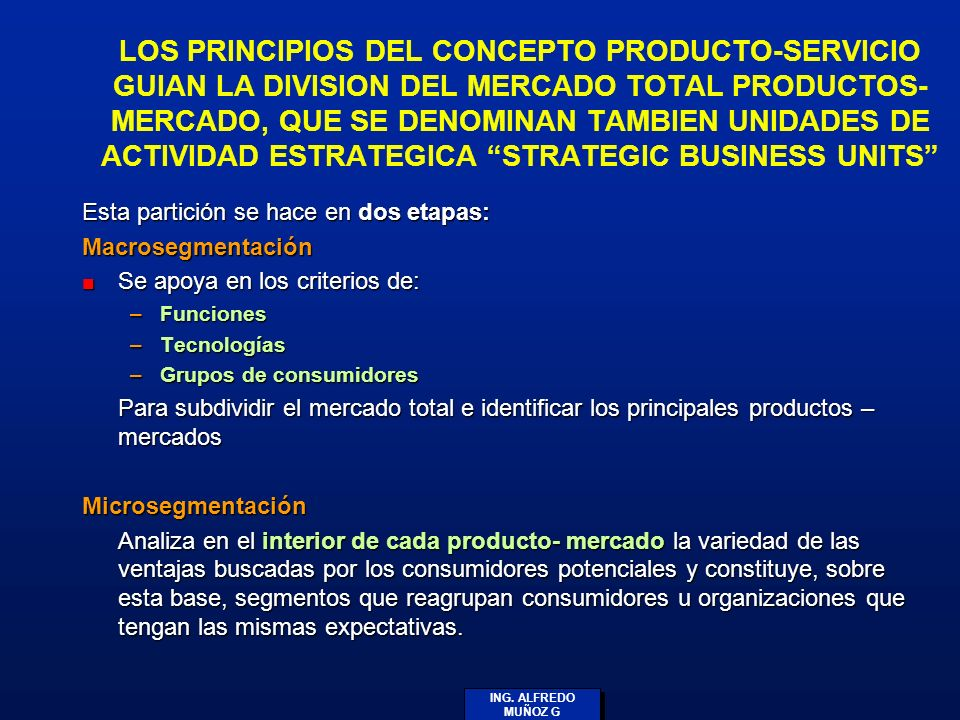 LOS PRINCIPIOS DEL CONCEPTO PRODUCTO-SERVICIO GUIAN LA DIVISION DEL MERCADO TOTAL PRODUCTOS- MERCADO, QUE SE DENOMINAN TAMBIEN UNIDADES DE ACTIVIDAD ESTRATEGICA STRATEGIC BUSINESS UNITS