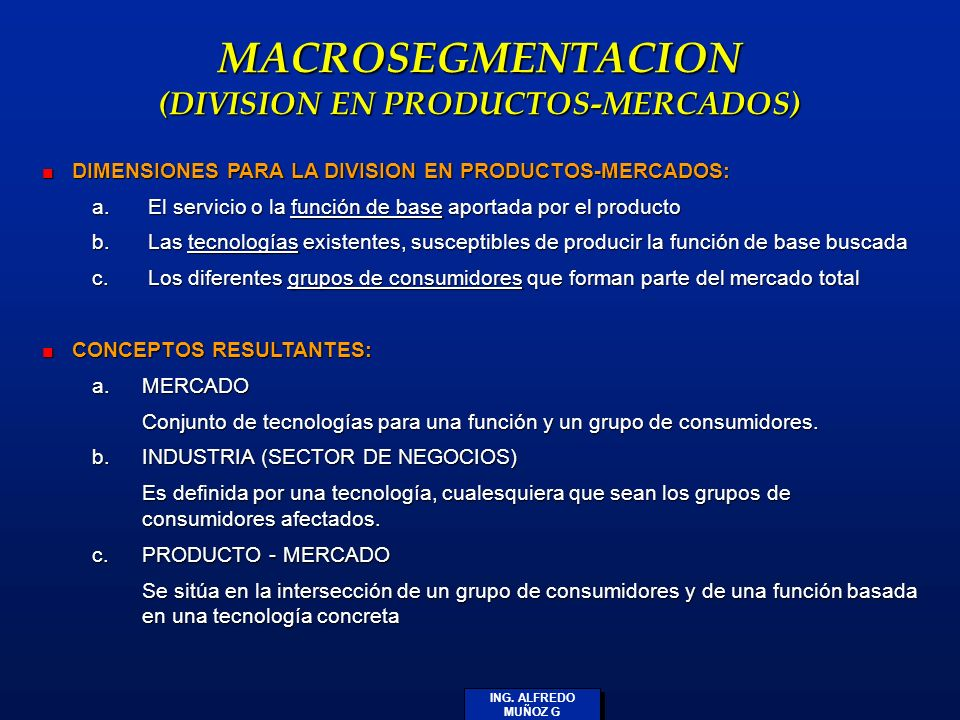 MACROSEGMENTACION (DIVISION EN PRODUCTOS-MERCADOS)