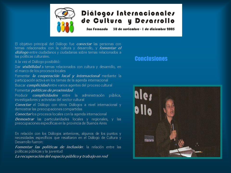 El objetivo principal del Diálogo fue conectar las personas con temas relacionados con la cultura y desarrollo, y fomentar el diálogo entre ciudadanos y ciudadanas sobre temas relacionados a las políticas culturales.