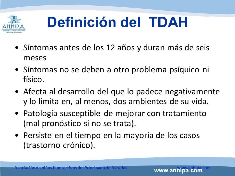 Definición del TDAH Síntomas antes de los 12 años y duran más de seis meses. Síntomas no se deben a otro problema psíquico ni físico.