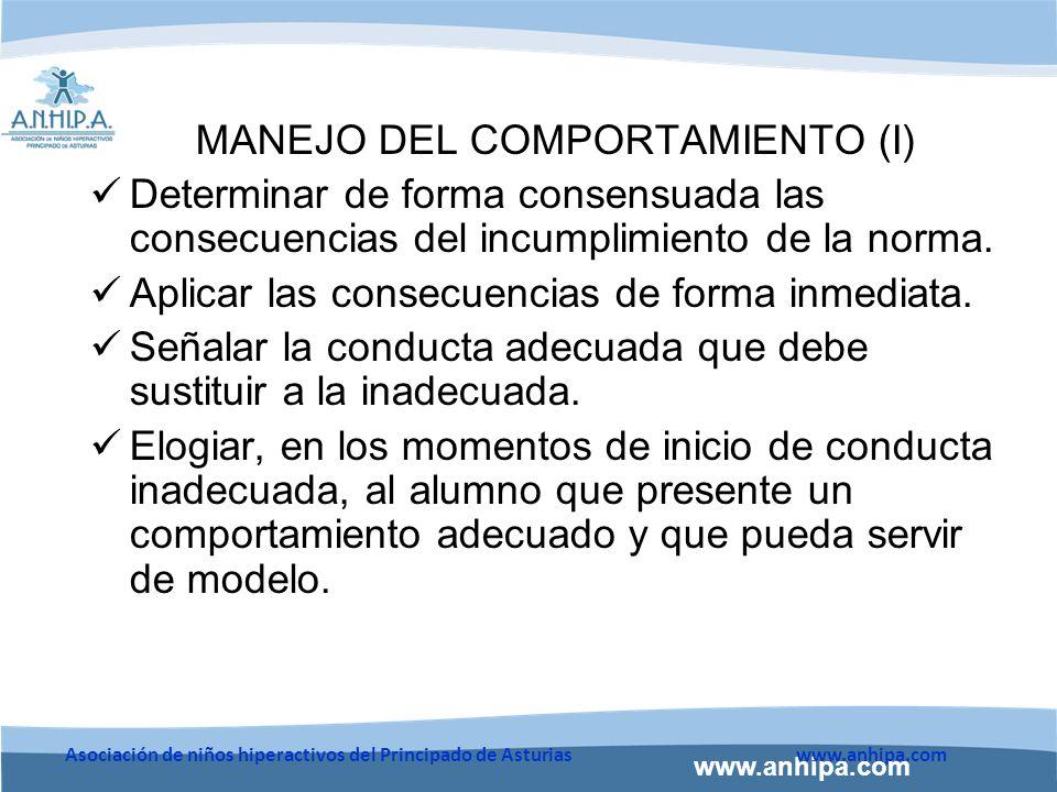 MANEJO DEL COMPORTAMIENTO (I)