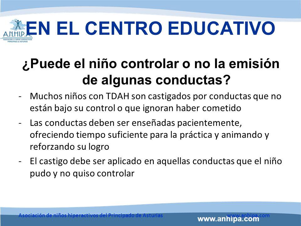 ¿Puede el niño controlar o no la emisión de algunas conductas