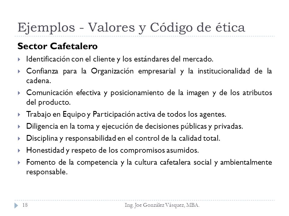 Ejemplos - Valores y Código de ética