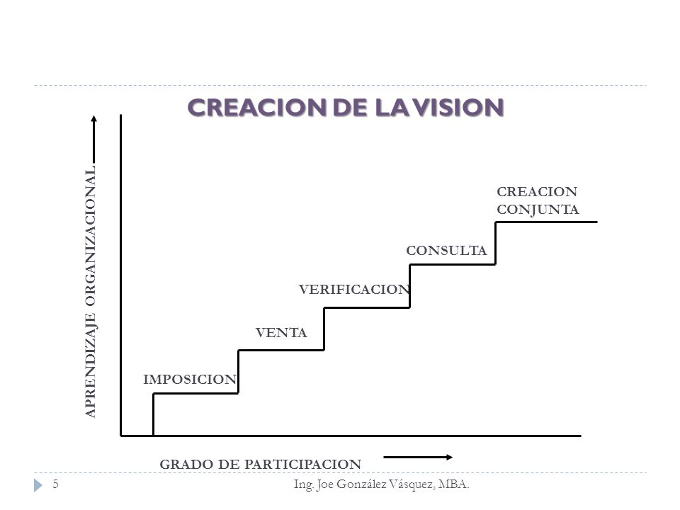 CREACION DE LA VISION CREACION CONJUNTA APRENDIZAJE ORGANIZACIONAL