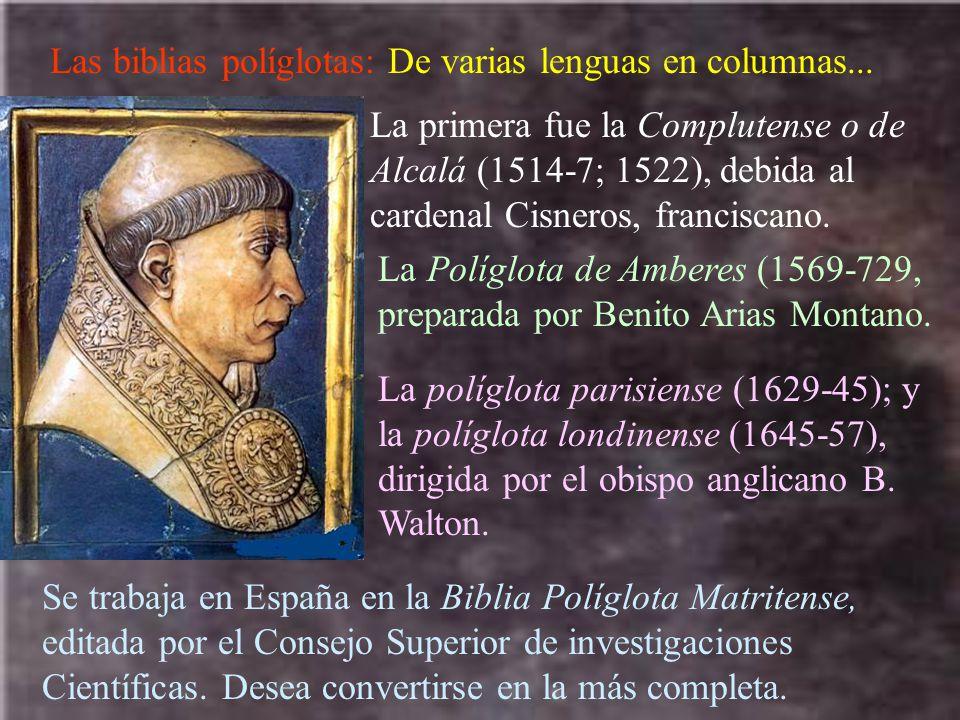 Las biblias políglotas: De varias lenguas en columnas...