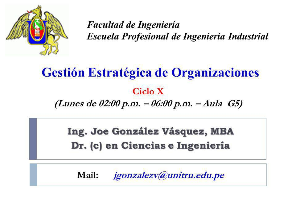 Ing. Joe González Vásquez, MBA Dr. (c) en Ciencias e Ingeniería