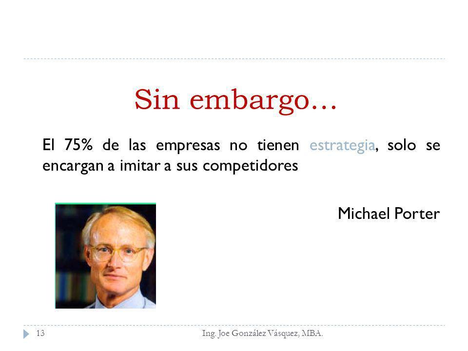 Sin embargo… El 75% de las empresas no tienen estrategia, solo se encargan a imitar a sus competidores.