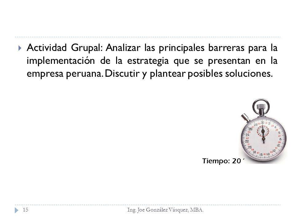 Actividad Grupal: Analizar las principales barreras para la implementación de la estrategia que se presentan en la empresa peruana. Discutir y plantear posibles soluciones.