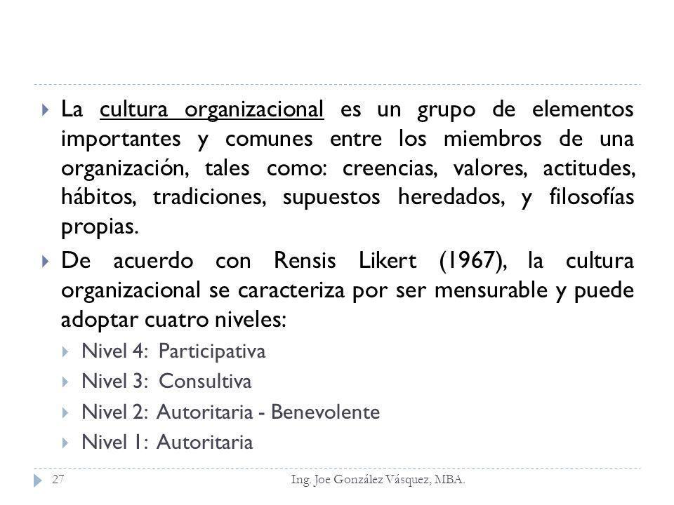 La cultura organizacional es un grupo de elementos importantes y comunes entre los miembros de una organización, tales como: creencias, valores, actitudes, hábitos, tradiciones, supuestos heredados, y filosofías propias.