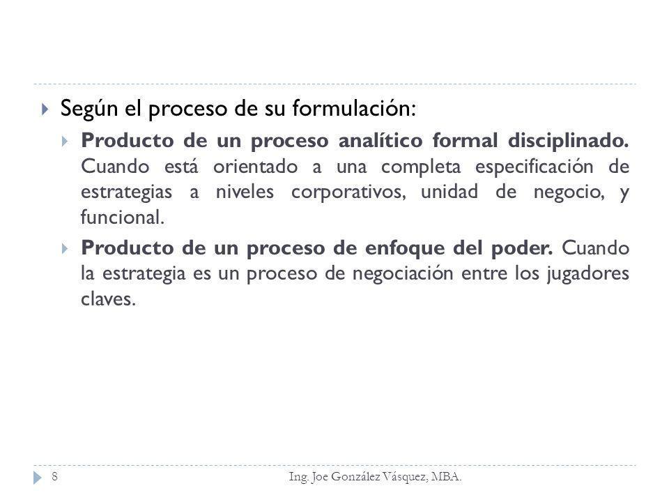 Según el proceso de su formulación: