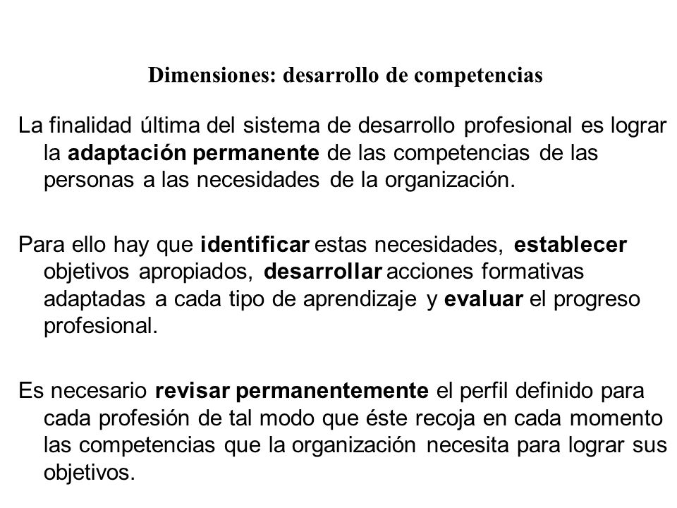 Dimensiones: desarrollo de competencias