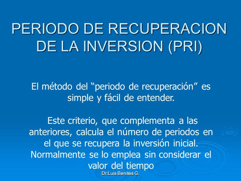 PERIODO DE RECUPERACION DE LA INVERSION (PRI)
