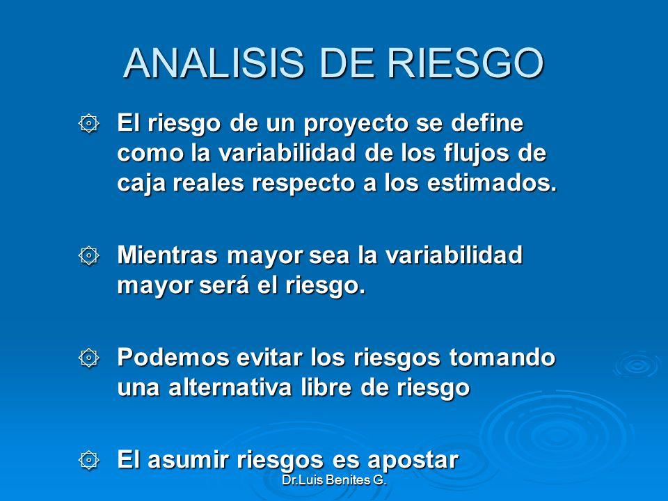 ANALISIS DE RIESGO El riesgo de un proyecto se define como la variabilidad de los flujos de caja reales respecto a los estimados.
