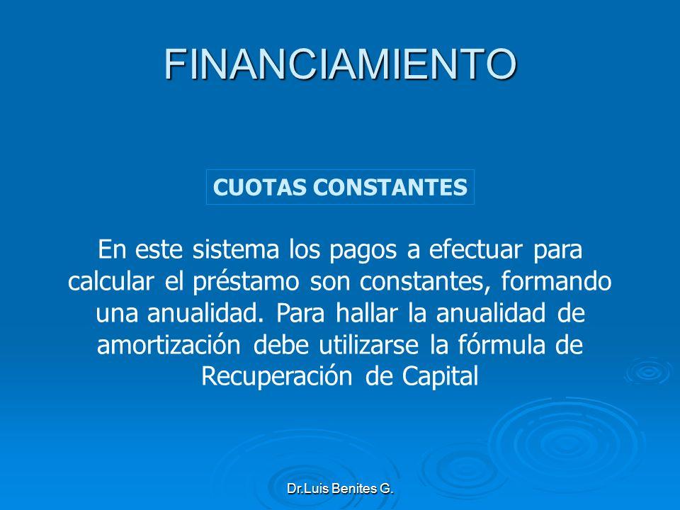 FINANCIAMIENTO CUOTAS CONSTANTES.