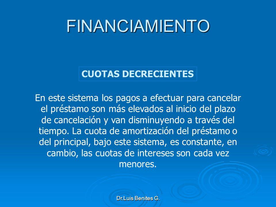 FINANCIAMIENTO CUOTAS DECRECIENTES