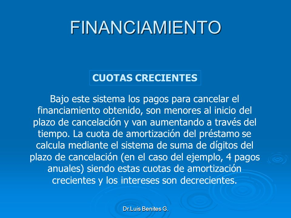 FINANCIAMIENTO CUOTAS CRECIENTES
