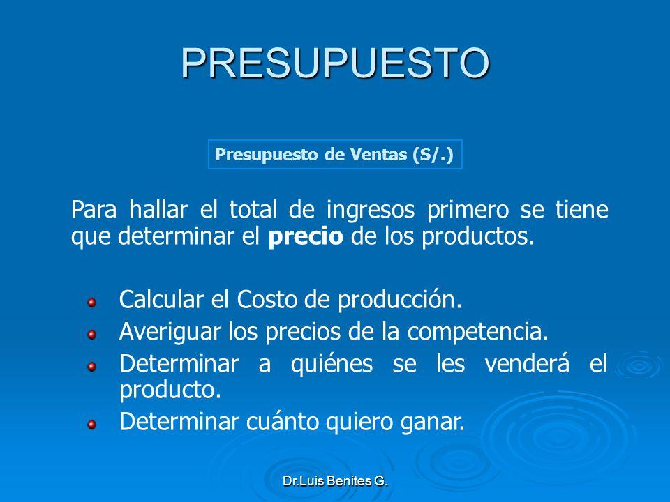 PRESUPUESTO Presupuesto de Ventas (S/.) Para hallar el total de ingresos primero se tiene que determinar el precio de los productos.