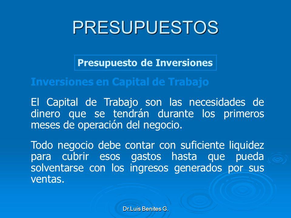 PRESUPUESTOS Inversiones en Capital de Trabajo