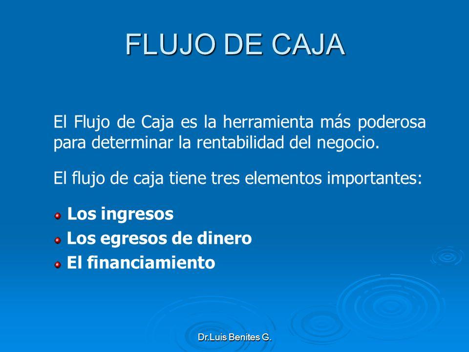 FLUJO DE CAJA El Flujo de Caja es la herramienta más poderosa para determinar la rentabilidad del negocio.