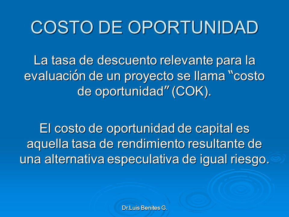 COSTO DE OPORTUNIDAD La tasa de descuento relevante para la evaluación de un proyecto se llama costo de oportunidad (COK).