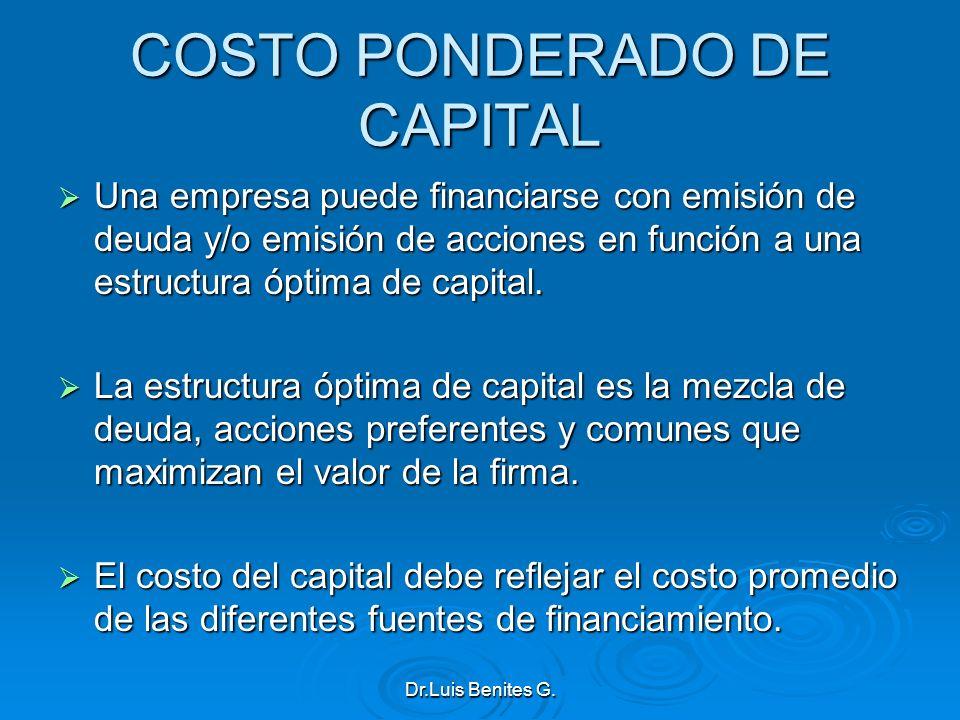 COSTO PONDERADO DE CAPITAL