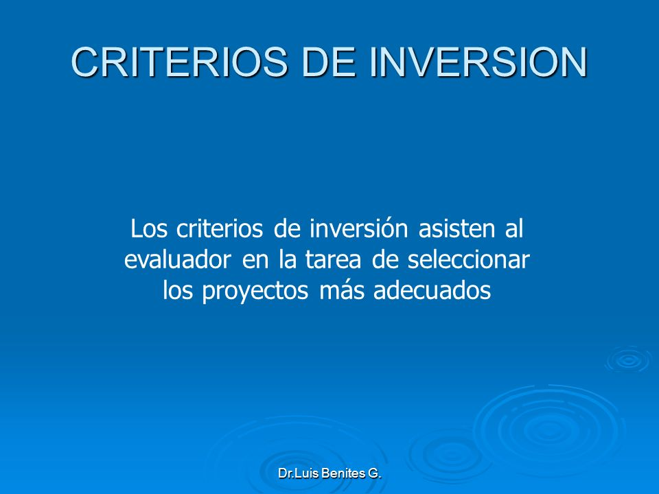 CRITERIOS DE INVERSION