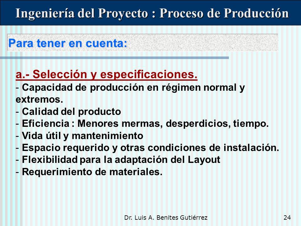 Ingeniería del Proyecto : Proceso de Producción