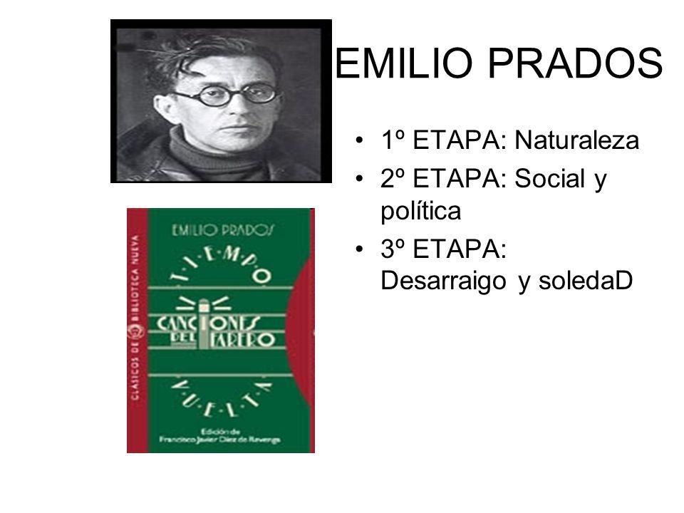 EMILIO PRADOS 1º ETAPA: Naturaleza 2º ETAPA: Social y política