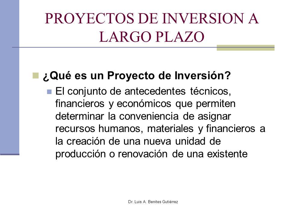 PROYECTOS DE INVERSION A LARGO PLAZO