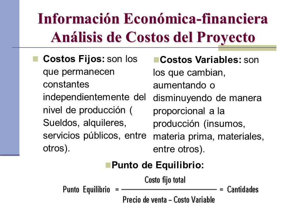 Información Económica-financiera Análisis de Costos del Proyecto