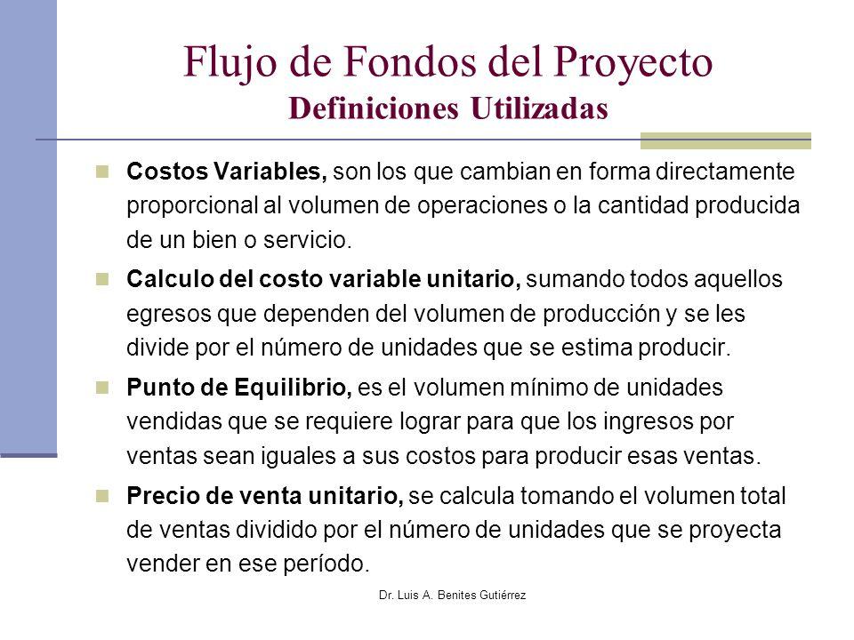 Flujo de Fondos del Proyecto Definiciones Utilizadas